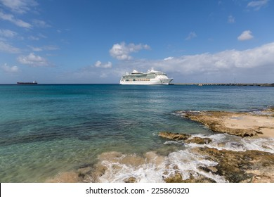 White Luxury Cruise Ship Docked at St Croix