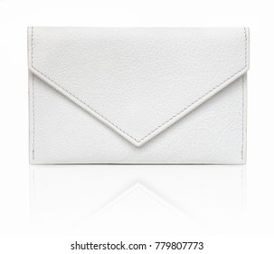 White luxury envelope-shaped wallet, made from goatskin. Isolated on white background with shadow reflection. Small, flat leather case for personal items. Pocket-sized small bag. White goatskin purse.