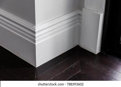 white luxury moulding floor with dark wooden floor interior detain concept