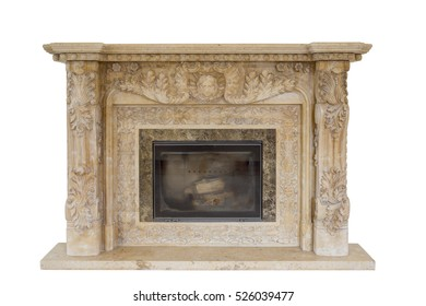 White luxury old fireplace with firewoods isolated on white background