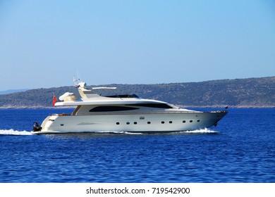 White luxury yacht in Adriatic sea , Croatia