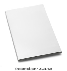 White Magazine with Copy Space Isolated on White Background.
