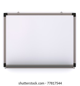 White magnetic board on the wall. Isolated 3d rendering