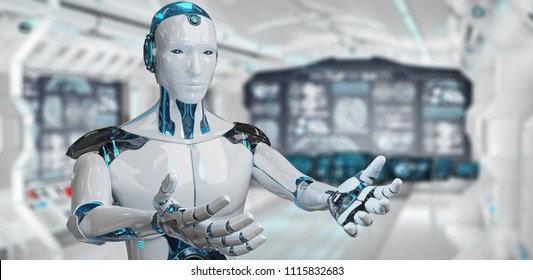 White male cyborg opening his two hands on spaceship background 3D rendering