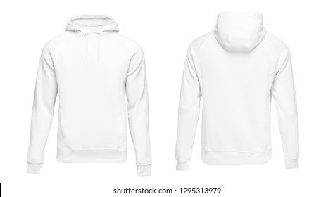 White male hoodie sweatshirt long sleeve with clipping path, mens hoody with hood for your design mockup for print, isolated on white background. Template sport clothes.