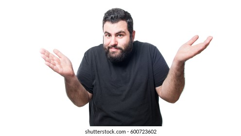 White man making doubt gesture with both arms isolated on white background