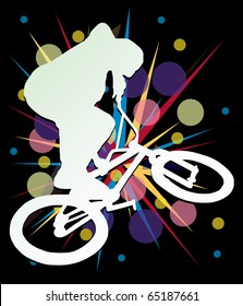white man on bike silhouette with color background