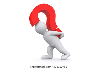 White man with red question mark isolated on white with clipping path.