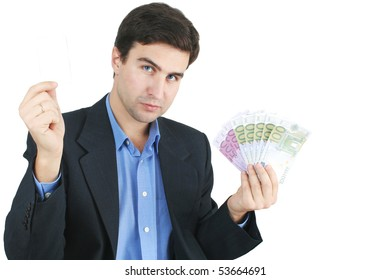 white man in suit and money