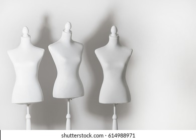 White mannequin on the white background