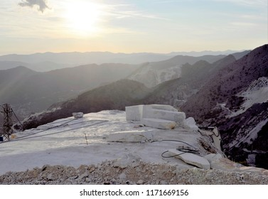 White marble blocks in a Carrara quarry
