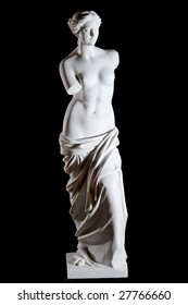 "White marble classic statue ""Aphrodite of Milos"" isolated on black background"