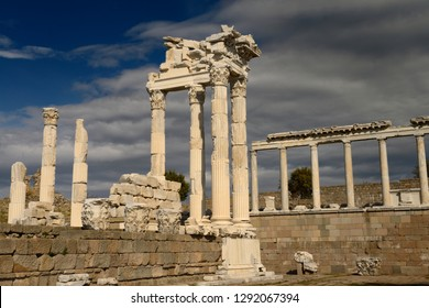 White marble corinthian colum ruins of Trajan Temple at Pergamon archeological site Bergama, Izmir, Turkey - November 11, 2012