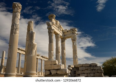 White marble corinthian colums of Trajan Temple at Pergamon archeological site Bergama, Izmir, Turkey - November 11, 2012