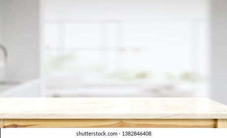 White marble counter top table with modern kitchen room background