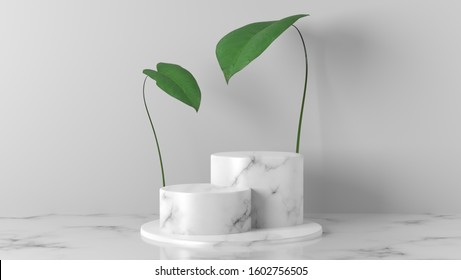 white Marble cylinder, circle podium with green leaves in white background. concept scene stage showcase for new product, promotion sale, banner, presentation, cosmetic. with copy space - 3D rendering - Shutterstock ID 1602756505