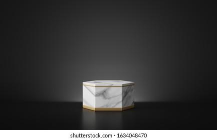 White marble geometric podium with dark black background. 3d rendering - illustration.
