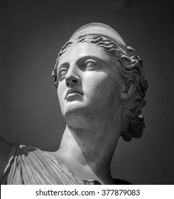 White marble head of young woman Artemis