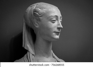 White marble head of young woman