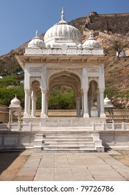 White marble Hindu cremation pavilion at Jaipur's Gaitore complex.