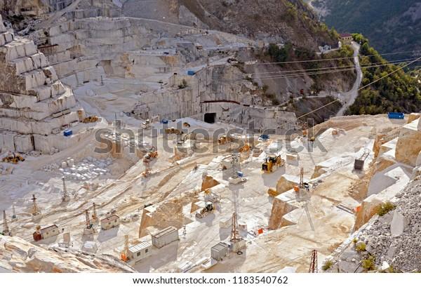 White Marble Mining Carrara Marble Quarry Stock Photo (Edit