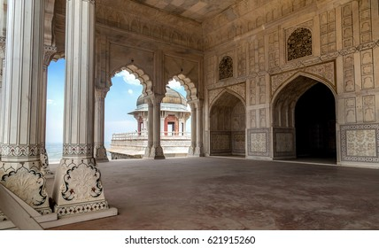 White marble portico structure of Agra fort Diwan-i-khas and Musamman Burj dome at Agra. Agra Fort is a UNESCO World heritage site.