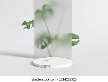 White marble product display podium leaves . 3D render - Shutterstock ID 1814252528