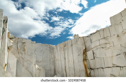 White Marble Quarry under the blue sky
