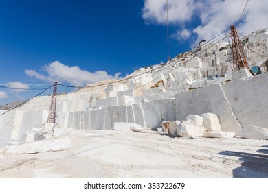 White marble quarry working site in Carrara, Tuscany, Italy