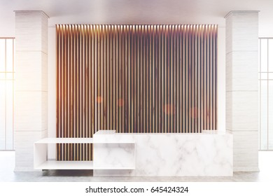 White marble reception counter of an original construction is standing near a wall with wooden vertical blinds. 3d rendering, toned image
