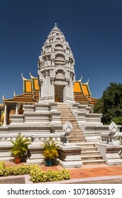 White marble royal palace phnom Penh viewed from bottom of steps
