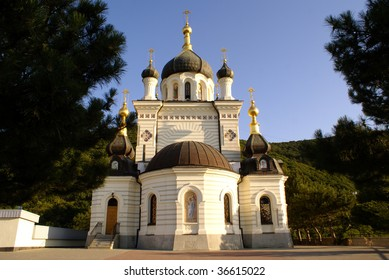 White marble Russian church in Foros, Crimea