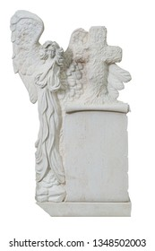 White marble sculpted tombstone with angel embracing cross