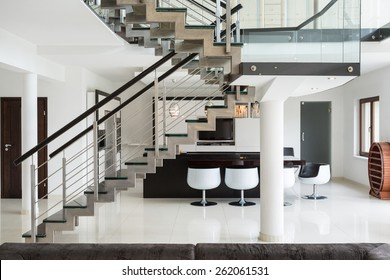 White marble stairs on the first floor in luxury apartment