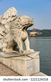 White marble statue on the 17arch brigde on the Kunming Lake of the Summer Palace in Beijing