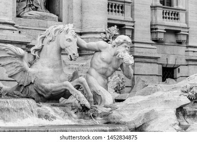 White marble statue of Triton with docile horse, part of Trevi Fountain, Rome, Italy. Black and white image.