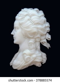 White marble stone low relief, sculpture face of classic renaissance person isolated