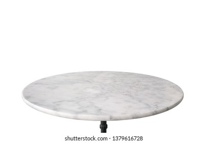 white marble stone table top isolated on white background, for product display