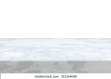 White marble stone table top isolated on white background - can be used for display or montage your products