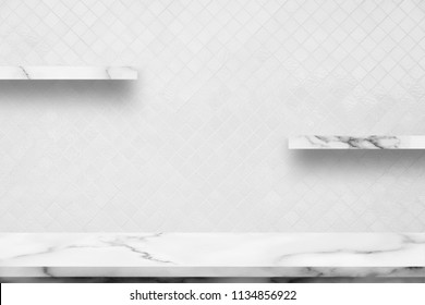 White marble table with decorative interior white ceramic room wall background. For display or montage your products.