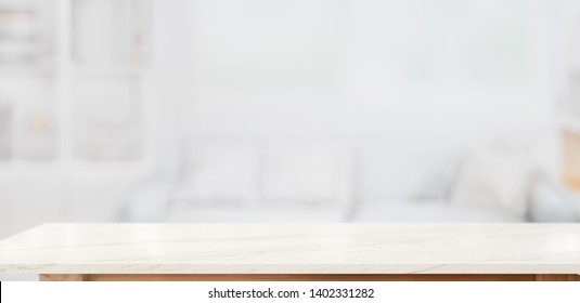 White marble table top for product display montage in living room background