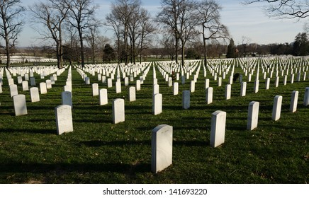 White marble tombstones at Arlington National Cemetery