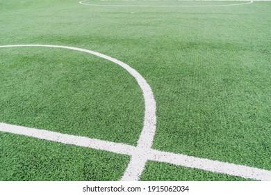 White markings on an artificial football field