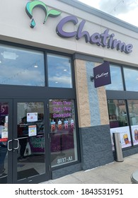 White Marsh, Maryland / US - October 22, 2020: Exterior retail store front signage and logo of Taiwanese publicly traded listed company Chatime bubble tea chain location for high end tea drinks