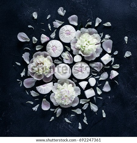 White Marshmallow Different Shapes White Flowers Stock Photo Edit