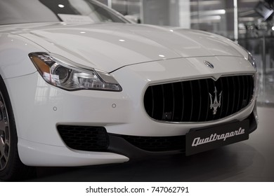White Maserati Quattroporte close up front side view display at showroom dealer - Bangkok Thailand May 2016