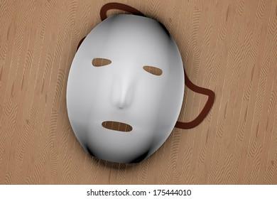 White mask over wooden background, 3d render