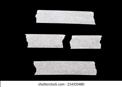White masking tape isolated on black background.
