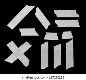 White Masking Tape piece isolated on black background, with clipping paths