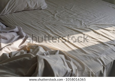 White Mattress After Waking Morning Sun Stock Photo Edit Now